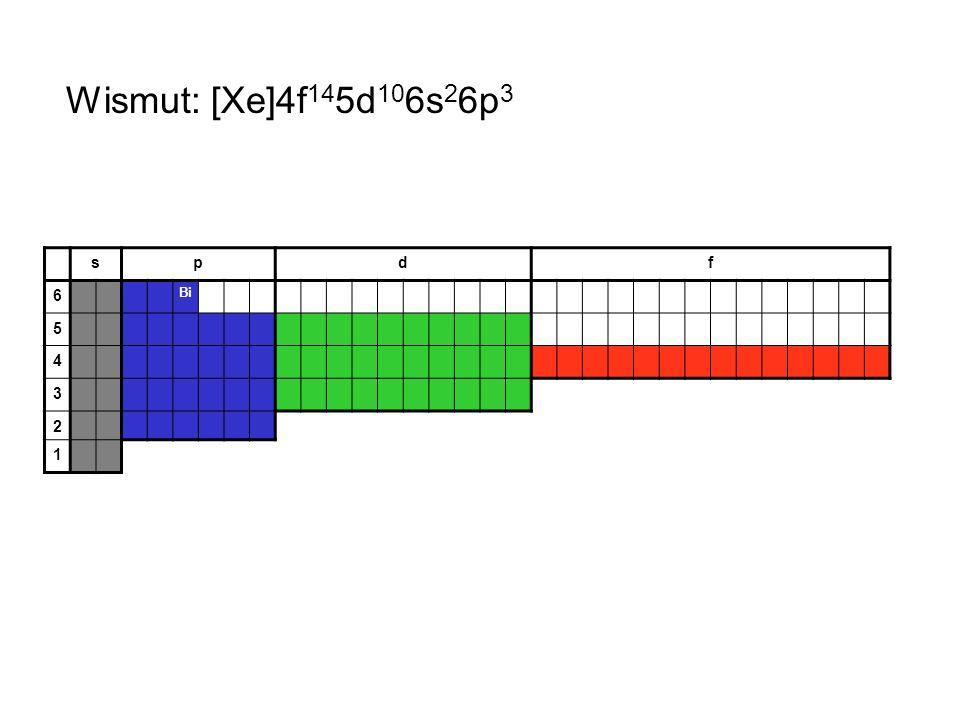 Wismut: [Xe]4f145d106s26p3 s p d f 6 Bi 5 4 3 2 1